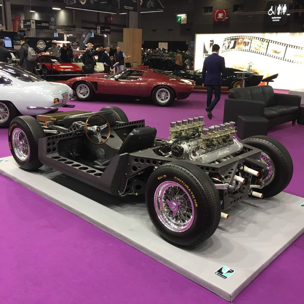 Le châssis de la Lamborghini Miura - photo lov4wheels - Salon Rétromobile 2019